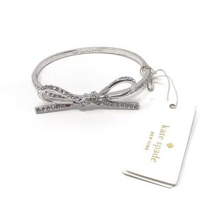 New Kate Spade Tied Up Bow Bangle Hinged Silver